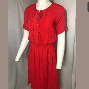Sunday in Brooklyn Peasant Tiered Red Dress